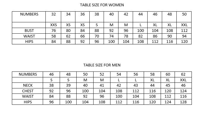 tablica veličina ia žene i muškarce